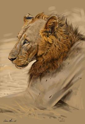 African Wildlife Digital Art - Lion Portrait by Aaron Blaise