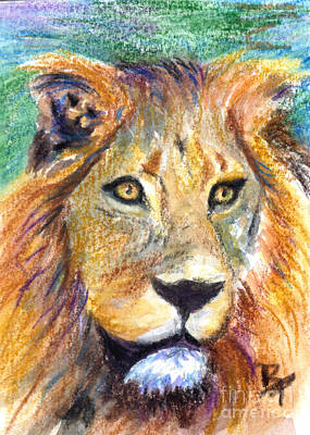 Painting - Lion Portrait Aceo by Brenda Thour