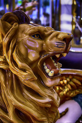 Antique Carousel Photograph - Lion Roaring Carrousel Ride by Garry Gay