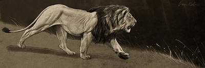 Lion Sketch Art Print by Aaron Blaise