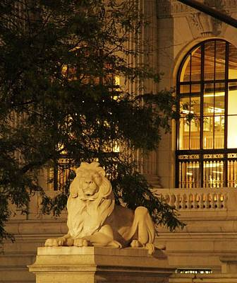 Streetlight Photograph - Lion Statue In New York City by Dan Sproul
