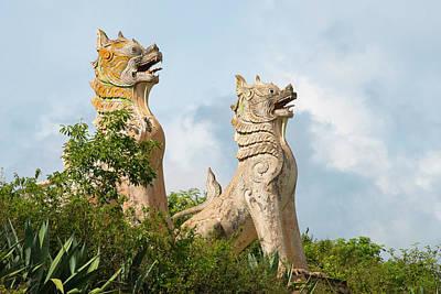 Myanmar Photograph - Lion Statues, Shan State, Myanmar by Keren Su