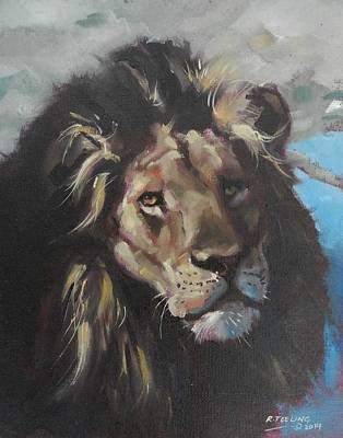 Painting - Lion Study by Robert Teeling