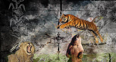 Grim Digital Art - Lion Tiger Bear by Ryan Dressel