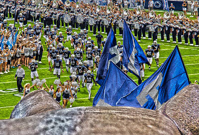 Penn State University Photograph - Lion Watching The Entrance by Tom Gari Gallery-Three-Photography