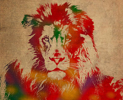 Lion Watercolor Portrait On Old Canvas Art Print