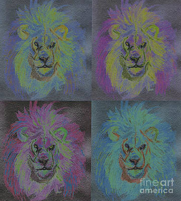 King Of Beasts Painting - Lion X 4 Color  By Jrr by First Star Art