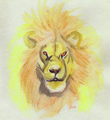 Lion Yellow Art Print