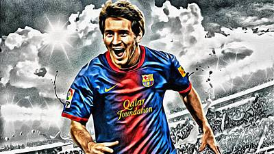 Painting - Lionel Messi Celebration Poster by Florian Rodarte