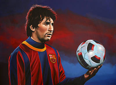 Soccer Painting - Lionel Messi 2 by Paul Meijering