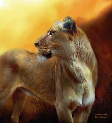 Mixed Media - Lioness Is Near by Carol Cavalaris
