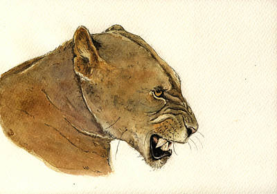Lioness Painting - Lioness by Juan  Bosco