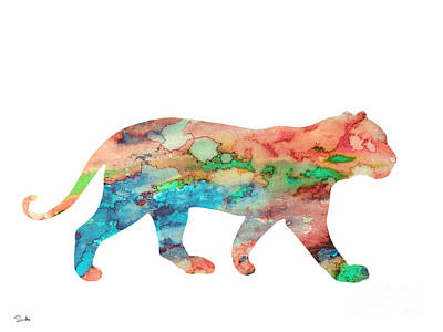 Lion Art Painting - Lioness by Watercolor Girl