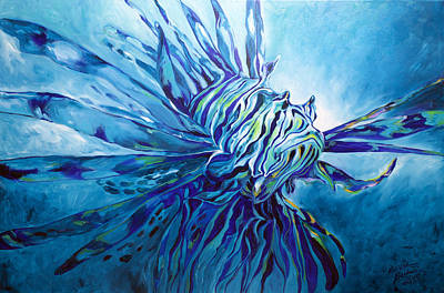 Painting - Lionfish Abstract Blue by Marcia Baldwin