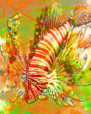 Sea Foods Digital Art - Lionfish In Living Color 5d24143 by Wingsdomain Art and Photography