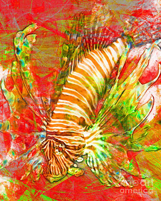 Animals Digital Art - Lionfish In Living Color 5d24143m288p38 by Wingsdomain Art and Photography