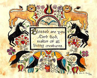 Lions And Unicorns-fraktur Art Print