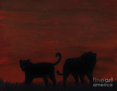 Drawing - Lions At Sunset by D Hackett