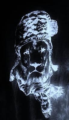 Photograph - Winter's Lion Black Cyan by Rob Hans