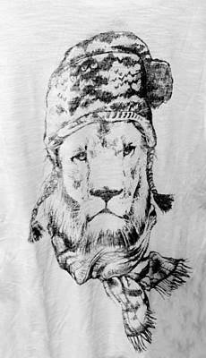 Drawing - Winter's Lion Gray by Rob Hans
