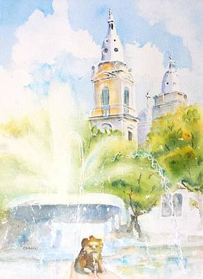 Painting - Lions Fountain Plaza Las Delicias  Ponce Cathedral Puerto Rico by Carlin Blahnik