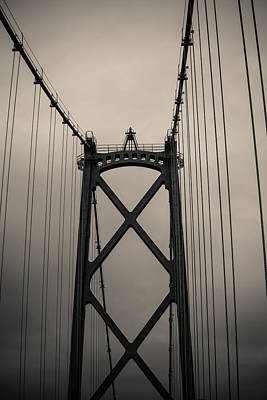 Photograph - Lions Gate Bridge Abstract Black And White by Eti Reid