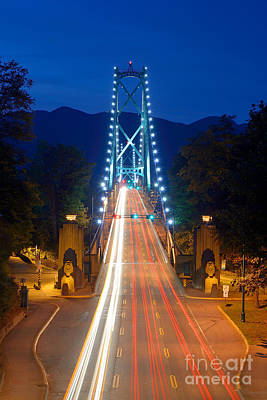 Vancouver At Night Photograph - Lions Gate Bridge At Dusk by Terry Elniski
