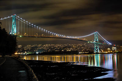 Landscape Photograph - Lions Gate Bridge At Night by David Gn