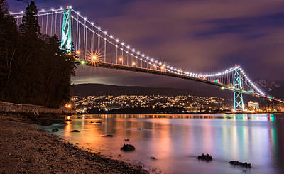 Lions Gate Bridge At Night Art Print by James Wheeler