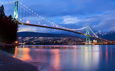 Animals Royalty-Free and Rights-Managed Images - Lions Gate Bridge Just After Sunset by James Wheeler