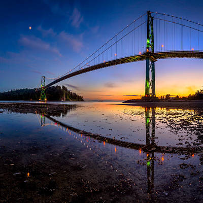 North Vancouver Photograph - Lions Gate Bridge Reflections by Alexis Birkill