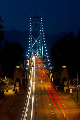 Lions Gate Bridge Traffic Art Print by Michael Russell