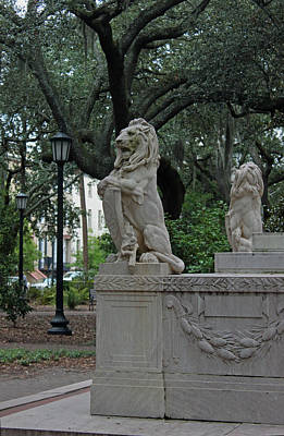 Photograph - Lions In The Park - Savannah Georgia II by Suzanne Gaff