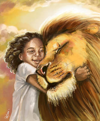 Lion's Kiss Art Print by Tamer and Cindy Elsharouni