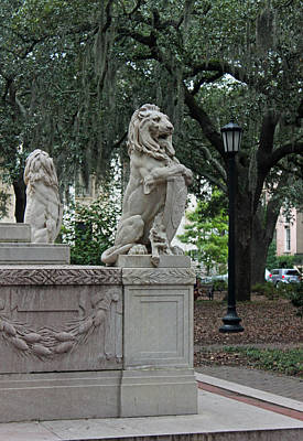 Lions In The Park - Savannah Georgia Original by Suzanne Gaff