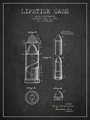 Lipstick Case Patent From 1952 - Charcoal Art Print