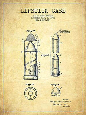 Lipstick Case Patent From 1952 - Vintage Art Print by Aged Pixel