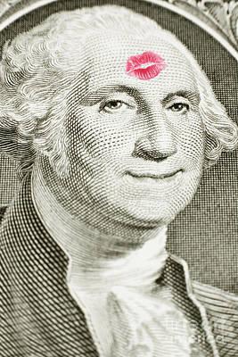 Lipstick Kiss On One Dollar Bill Art Print
