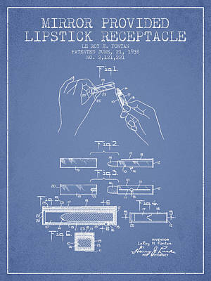 Lipstick Mirror Patent From 1938 - Light Blue Art Print by Aged Pixel