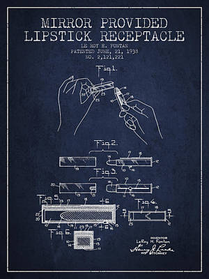 Lipstick Mirror Patent From 1938 - Navy Blue Art Print by Aged Pixel