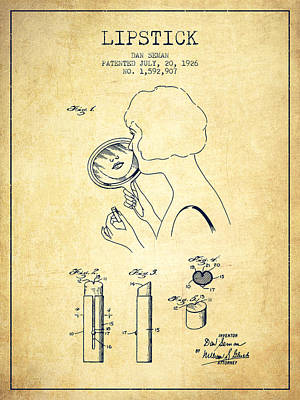 Lipstick Patent From 1926 - Vintage Art Print by Aged Pixel