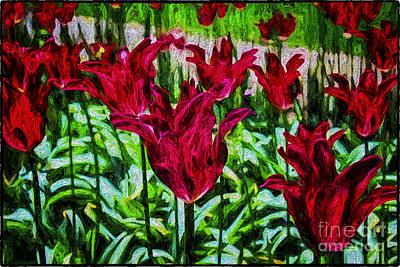 Lipstick Tulips Art Print