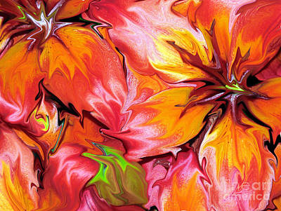 Photograph - Liquefied Asiatic Lilies Abstract by Rose Santuci-Sofranko