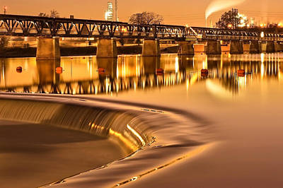 Riverwalk Photograph - Liquid Gold - The 21st Street Bridge  by Gregory Ballos