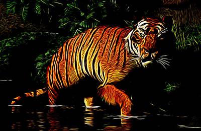 Animals Digital Art - Liquid Tiger by Daniel Eskridge