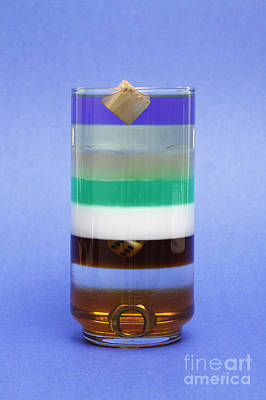 Glass Oil Dish Photograph - Liquids And Solids Of Different Density by GIPhotoStock