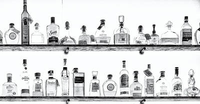 Photograph - Liquor Bottles - Black And White by Kathleen K Parker