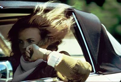 American Car Photograph - Lisa Taylor Driving A Car by Arthur Elgort