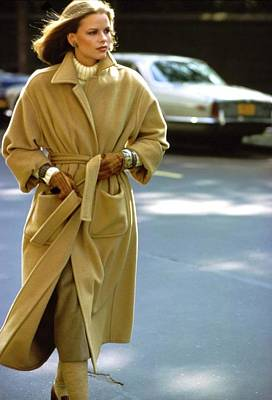 Photograph - Lisa Taylor Wearing A Brown Coat by Arthur Elgort
