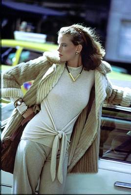 American Car Photograph - Lisa Taylor Wearing A Fur Coat by Arthur Elgort